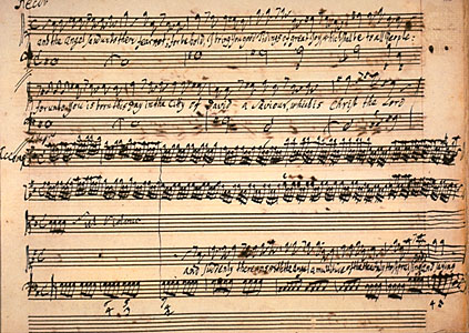 A page of George Frideric Handel's autograph draft score of Messiah (The Granger Collection, New York)